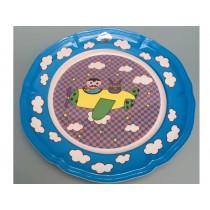 Supersoso Teller groß FLUGZEUG blau