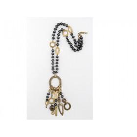 FIVA Halskette (schwarz, Holz, Goldelemente)
