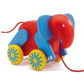 Charly der Elefant als Nachziehtier aus Holz von Djeco