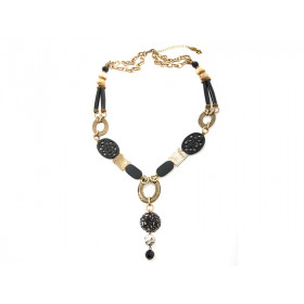 FIVA Halskette (Agat, Swarovski, Murano, Horn)
