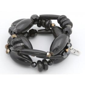 FIVA Armband (3er Set, schwarze Holzelemente)