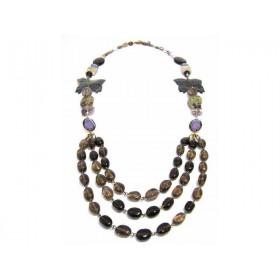 FIVA Halskette (3reihig Natursteine)