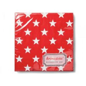 Papierservietten in rot mit weissen Sternen von krima & isa