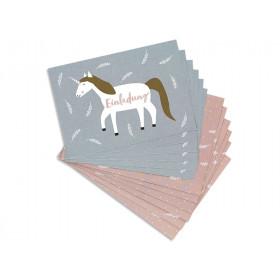 Ava & Yves Einladungskarten Set EINHORN mauve