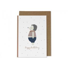 """Ava & Yves Grußkarte IGEL """"Happy Birthday"""" rostrot"""