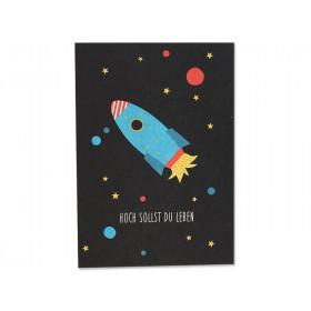 """Ava & Yves Postkarte RAKETE """"Hoch sollst Du Leben"""""""