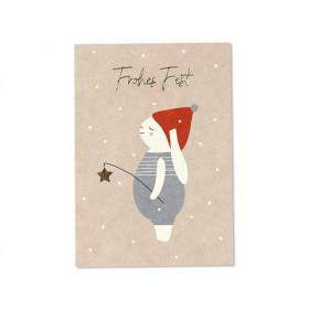 "Ava & Yves Postkarte SCHNEEHASE ""Frohes Fest"" rosa"