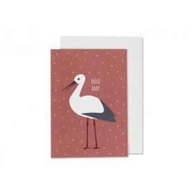 Ava & Yves Grußkarte HELLO BABY Storch rostrot