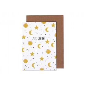 Ava & Yves Grußkarte Sonne, Mond & Sterne ZUR GEBURT