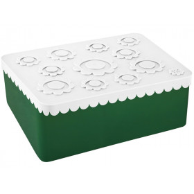 Blafre Lunchbox BLUMEN weiß / dunkelgrün