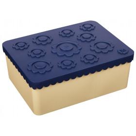 Blafre Lunchbox BLUMEN dunkelblau/beige