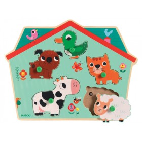 Djeco Holz-Puzzle mit Sound - Ouaf Woof