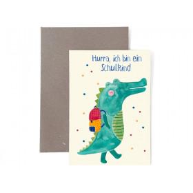 Frau Ottilie Grußkarte zur Einschulung SCHULKIND Krokodil