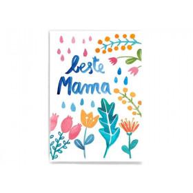 Frau Ottilie Postkarte BESTE MAMA Blumen