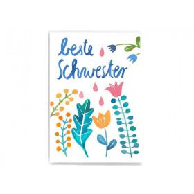 Frau Ottilie Postkarte BESTE SCHWESTER