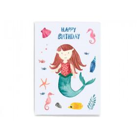 Frau Ottilie Postkarte HAPPY BIRTHDAY Meermädchen