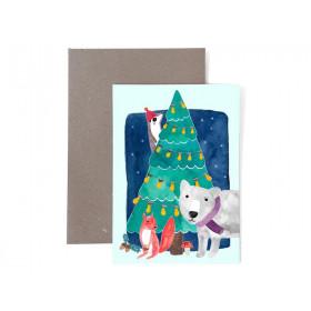 Frau Ottilie Weihnachtsgrußkarte TANNENBAUM