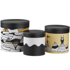 Kids Concept Pappboxen schwarz/weiß/gelb