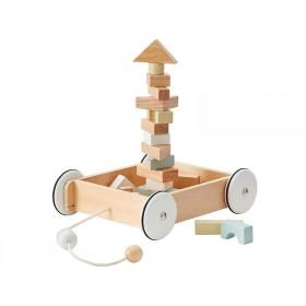 Kids Concept Wagen mit Holzklötzen