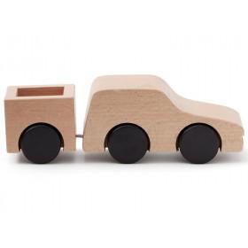 Kids Concept Auto mit Anhänger naturholz