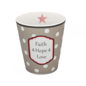 Krasilnikoff Becher Happy Mug Faith Hope Love