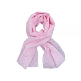 Krasilnikoff Schal rosa mit weißen Punkten