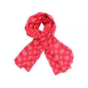 Krasilnikoff Schal rot mit diagonalem Blumenmuster