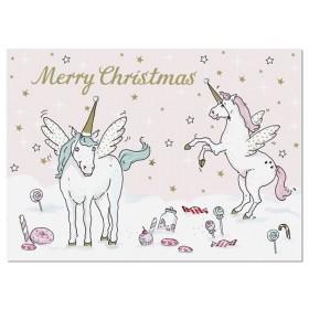 krima & isa Postkarte EINHORN Merry Christmas
