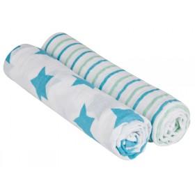 Lässig Spucktuch Set Streifen Sterne blau