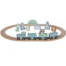 Little Dutch Holz-Eisenbahn mit SCHIENEN blau