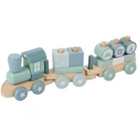 Little Dutch Holz-Eisenbahn blau