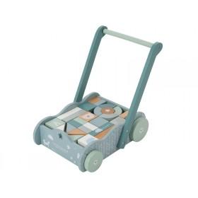 Little Dutch Lauflernwagen mit Bauklötzen blau