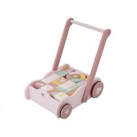 Little Dutch Lauflernwagen mit Bauklötzen rosa