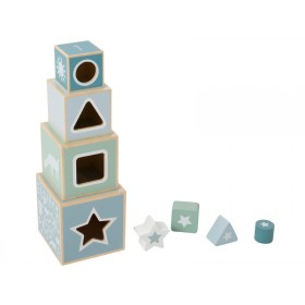 Little Dutch Holz-Stapelturm blau