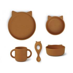 LIEWOOD Silikon Geschirr-Set VIVI Katze senfgelb