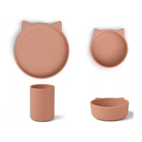 LIEWOOD Silikon Geschirr-Set CYRUS Katze dunkelrosa