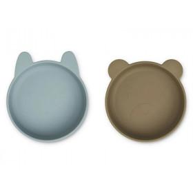 LIEWOOD 2 Silikon Schüsseln VANESSA Blue Fog/Khaki Mix