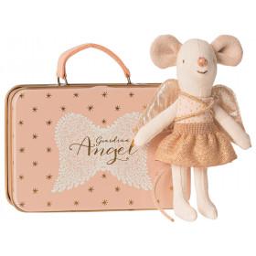 Maileg Kleine Schwester Maus SCHUTZENGEL mit Koffer