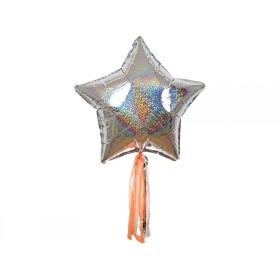 Meri Meri 6 Riesen-Ballons STERNE silber holografisch