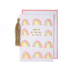 Meri Meri Grußkarte mit Quaste REGENBOGEN Happy Birthday