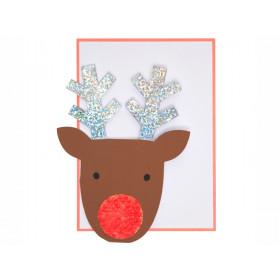 Meri Meri 3D Weihnachtskarte mit Pailletten RENTIER