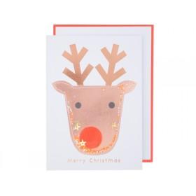 Meri Meri 3D Weihnachtskarte RENTIER glitzer