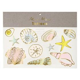 Meri Meri Tattoos MUSCHELN pastell & gold