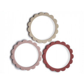 Mushie 3 Beißring Armbänder BLUMEN Rose/Blush/Shifting Sand