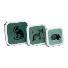 Petit Monkey Lunchbox Set BLACK ANIMALS grün