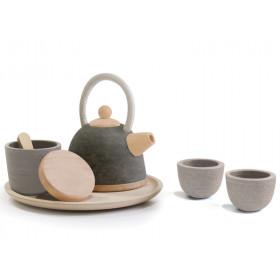 PlanToys Teeset aus Holz GRAU