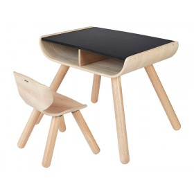 PlanToys Tisch & Stuhl schwarz