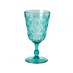 RICE Weinglas aus mintfarbenem Acryl mit Wirbelmuster