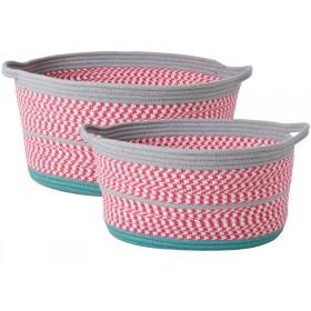 RICE Korb oval pink grau
