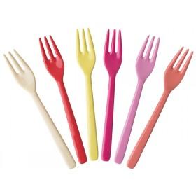 RICE 6 Kuchengabeln SUNNY Farben